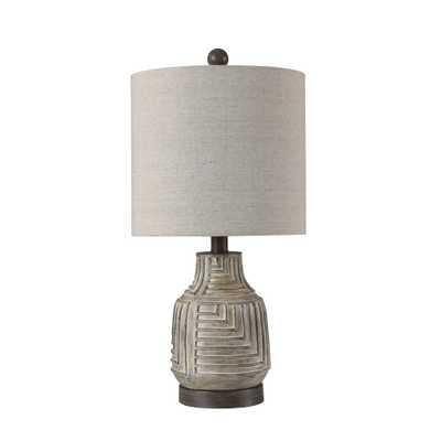 StyleCraft 21.5 in. Bokava/Garrison Gray Table Lamp with Gray Hardback Fabric Shade - Home Depot