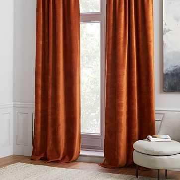 "Worn Velvet Curtain, Blackout Lining, Copper, 48""x96"" - West Elm"