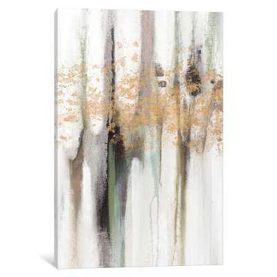 'Falling Gold Leaf I' Painting Print on Wrapped Canvas - AllModern
