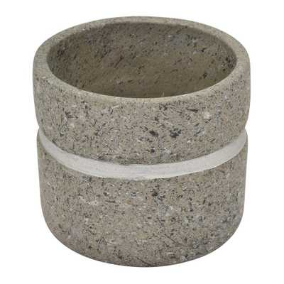 THREE HANDS 5.5 in. Terra Cotta Flower Pot in Gray - Home Depot
