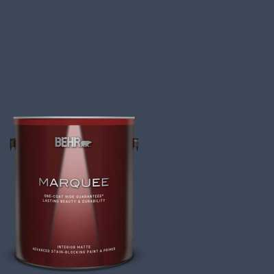 BEHR MARQUEE 1 gal. #M500-7 Very Navy Matte Interior Paint and Primer in One - Home Depot