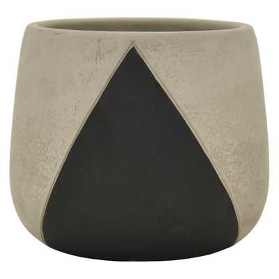 THREE HANDS 6 in. Black Planter - Home Depot