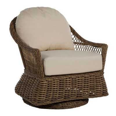Summer Classics Soho Coastal Brown Woven Wicker Outdoor Swivel Glider Chair - Kathy Kuo Home