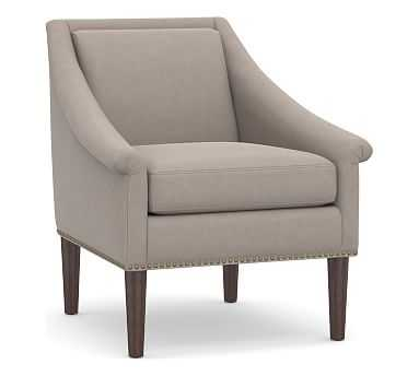 SoMa Valerie Upholstered Armchair, Polyester Wrapped Cushions, Performance Everydayvelvet(TM) Carbon - Pottery Barn