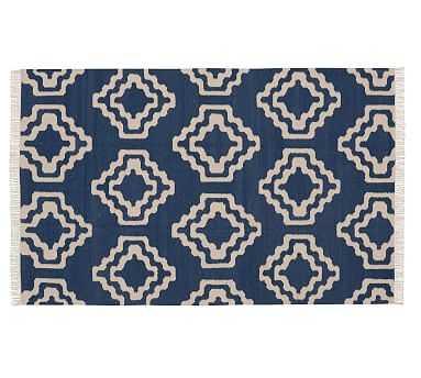 Sheldon Flatweave Rug, 9 x 12', Blue/Ivory - Pottery Barn