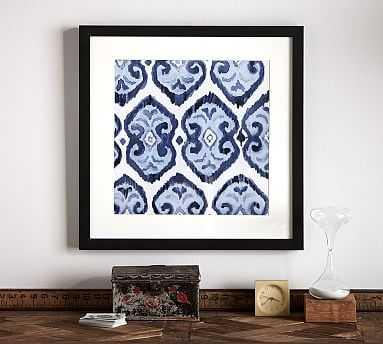 "Indigo Ikat Framed Print, Motif, 22 x 22"" - Pottery Barn"