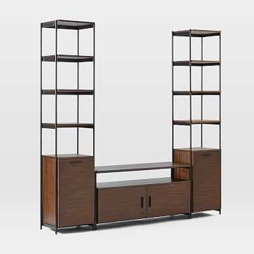 "Foundry Narrow Bookcase + 49"" Console Set, Dark Walnut - West Elm"