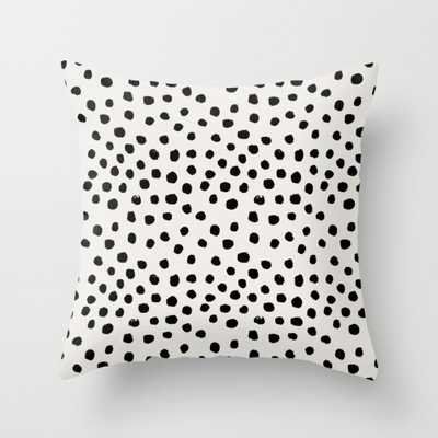 "Preppy brushstroke free polka dots black and white spots dots dalmation animal spots design minimal Throw Pillow - Indoor Cover (20"" x 20"") with - Society6"
