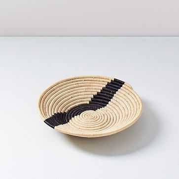 "All Across Africa Tray, Medium Bowl, Natural and Black, Block Print Woven, 12"" Diameter - West Elm"