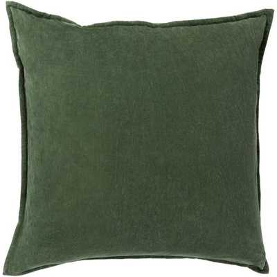 "Cotton Velvet- Dark Green- Pillow Shell with Down Insert - 18"" x 18"" - Neva Home"