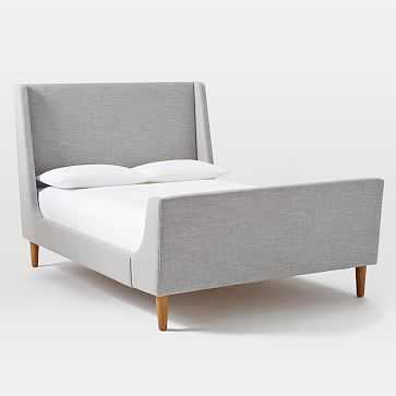 Upholstered Sleigh Bed Set, King, Linen Weave, Platinum - West Elm