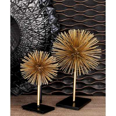 Round Iron Metal Gold Starburst Sculptures with Stand (Set of 3) - Home Depot