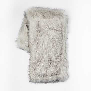 "Faux Fur Brushed Tips Throw, 47""x60"", Pearl Gray - West Elm"