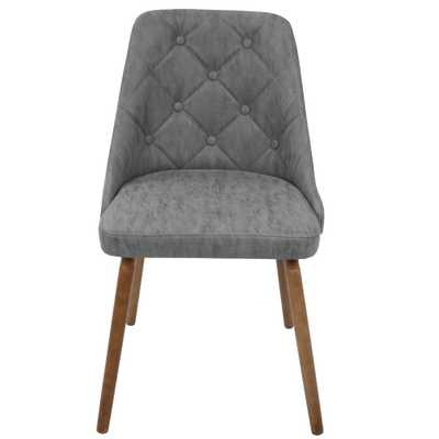 Giovanni Mid-Century Grey Modern Button Tufted Dining Chair Faux Leather, Grey/Brown - Home Depot