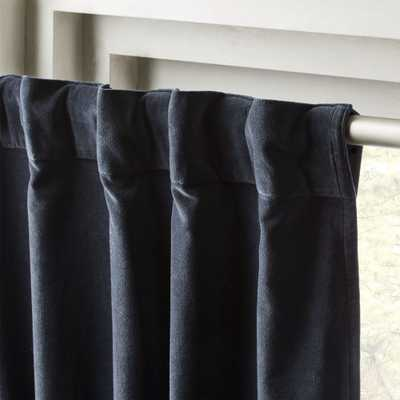 "Velvet Curtain Panel Midnight Blue 48""x96"" RESTOCK Early March - CB2"