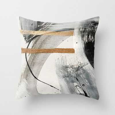 "Armor [7]: a bold minimal abstract mixed media piece in gold, black and white Throw Pillow - Indoor Cover (16"" x 16"") with pillow insert by - Society6"