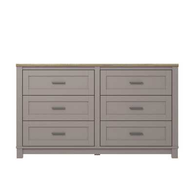 Viola Gray/Light Brown 6-Drawer Dresser - Home Depot