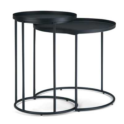 Simpli Home Monet Black Metal Nesting 2 Pc Table - Home Depot