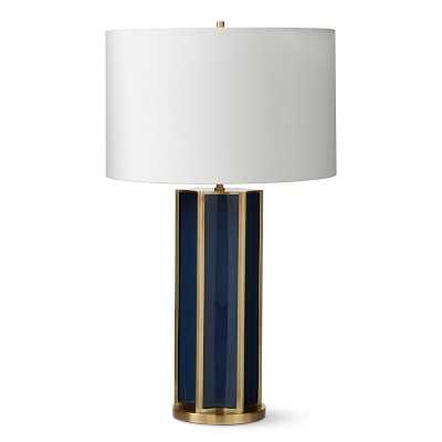 Fluted Colored Glass Table Lamp, Navy - Williams Sonoma