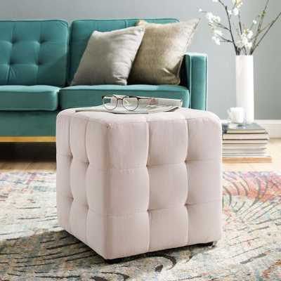 MODWAY Contour Pink Tufted Button Cube Performance Velvet Ottoman - Home Depot