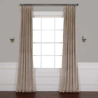 Exclusive Fabrics & Furnishings Gallery Taupe Brown Plush Velvet Curtain - 50 in. W x 96 in. L - Home Depot