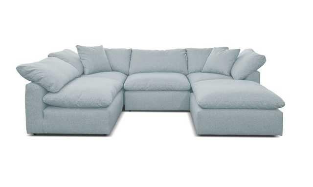 Blue Bryant Mid Century Modern U-Sofa Bumper Sectional (5 piece) - Mixology Moonstone - Joybird