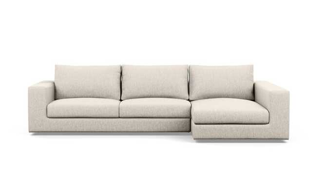 Walters Right Sectional with Beige Wheat Fabric, down alt. cushions, and extended chaise - Interior Define
