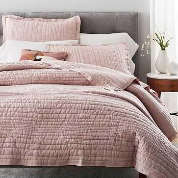 Belgian Flax Linen Linework Quilt, Full/Queen, Vintage Rose - West Elm