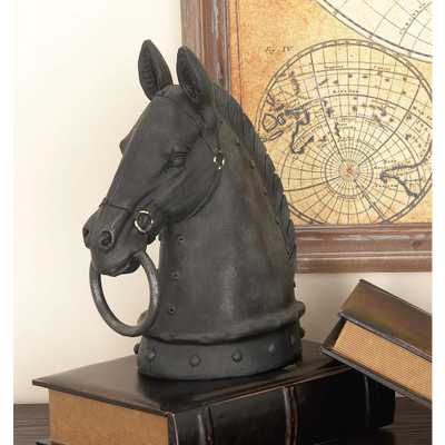12 in. Horse Head Decorative Figurine in Textured Black - Home Depot