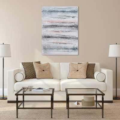 """""""Blue Roads""""Textured Metallic Hand Painted by Martin Edwards Abstract Canvas Wall Art, Multicolor - Home Depot"""