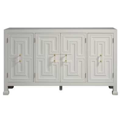 White Geometric Overlay Credenza - Home Depot