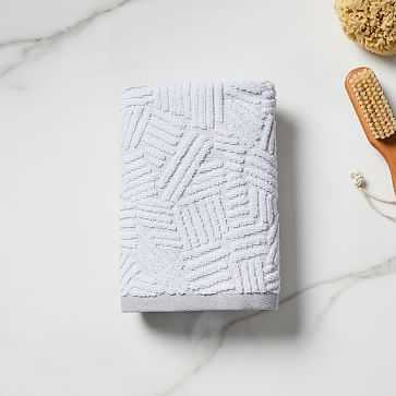 Organic Dashed Lines Sculpted Towel, Hand Towel, Gray Sky - West Elm