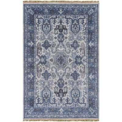 Orland Hand-Knotted Wool Navy Area Rug - Wayfair