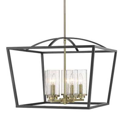 Golden Lighting Mercer 5-Light Chandelier in Matte Black with Aged Brass Accents and Seeded Glass - Home Depot