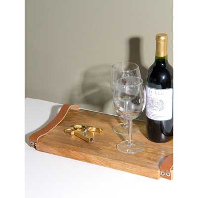 Best Home Fashion Wood Tray with Leather Handles, Natural Wood - Home Depot