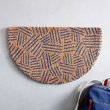 Tossed Dash Semi Circle Doormat, Navy, 18x30-Individual - West Elm