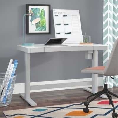 Belda Height Adjustable Glass Standing Desk - Wayfair