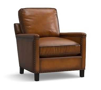 Tyler Leather Armchair with Bronze Nailheads, Polyester Wrapped Cushions, Leather Burnished Bourbon - Pottery Barn