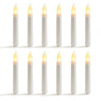 Warm Flameless LED Unscented Taper Candles (set of 12) - Wayfair