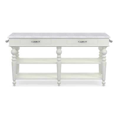 Larkspur Marble-Top Kitchen Island, White, Polished Nickel - Williams Sonoma