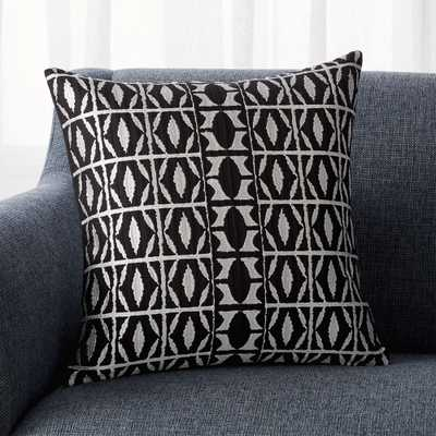 """Seneca Black Patterned Pillow with Down-Alternative Insert 18"""" - Crate and Barrel"""