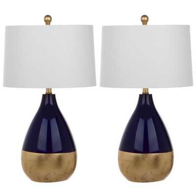 Safavieh Kingship 24 in. Navy/Gold Table Lamp (Set of 2) - Home Depot
