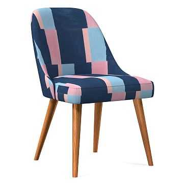 Midcentury Upholstered Dining Chair, Wood Leg, Pink Blue Multi, Color Block, Pecan - West Elm