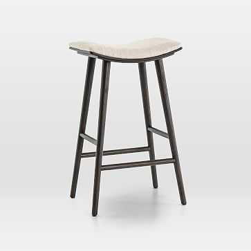 Oak Wood + Upholstered Saddle Bar Stool, Light Carbon/Essence Natural - West Elm