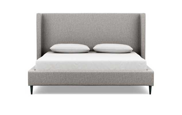 Oliver King Bed with Cal King Bed with Brown Earth Fabric, tall headboard, and Unfinished GunMetal legs - Interior Define