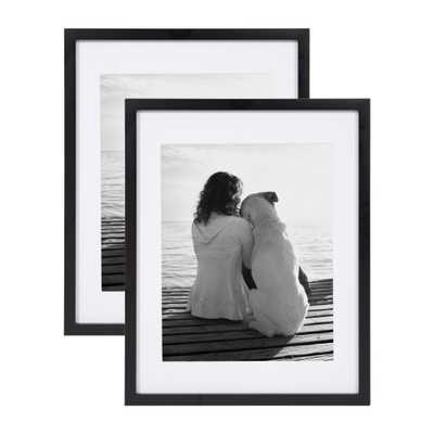 DesignOvation Gallery 14x18 matted to 11x14 Black Picture Frame Set of 2 - Home Depot