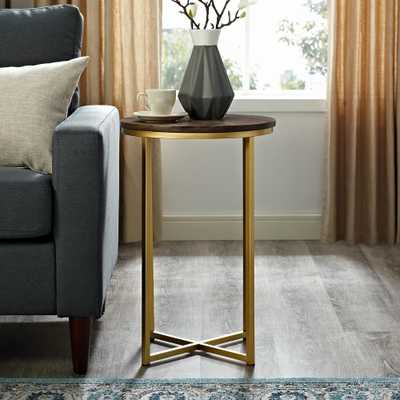 16 in. Dark Walnut/Gold Mid Century Modern X-Base Side Table - Home Depot