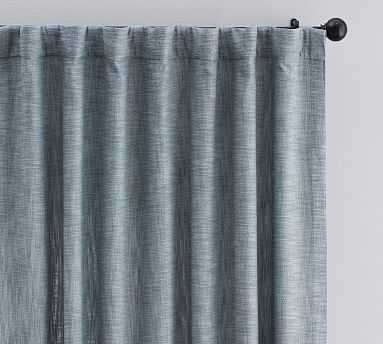 "Seaton Textured Drape 96"", Chambray Blue, Cotton Lining - Pottery Barn"