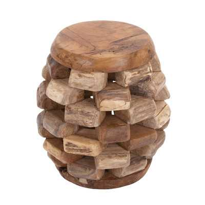 Wood Teak Stool - Wayfair