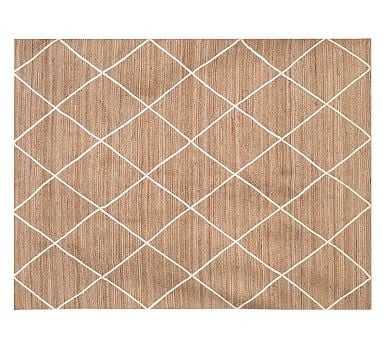 Jute Lattice Rug, 8x10', Flax/Ivory - Pottery Barn